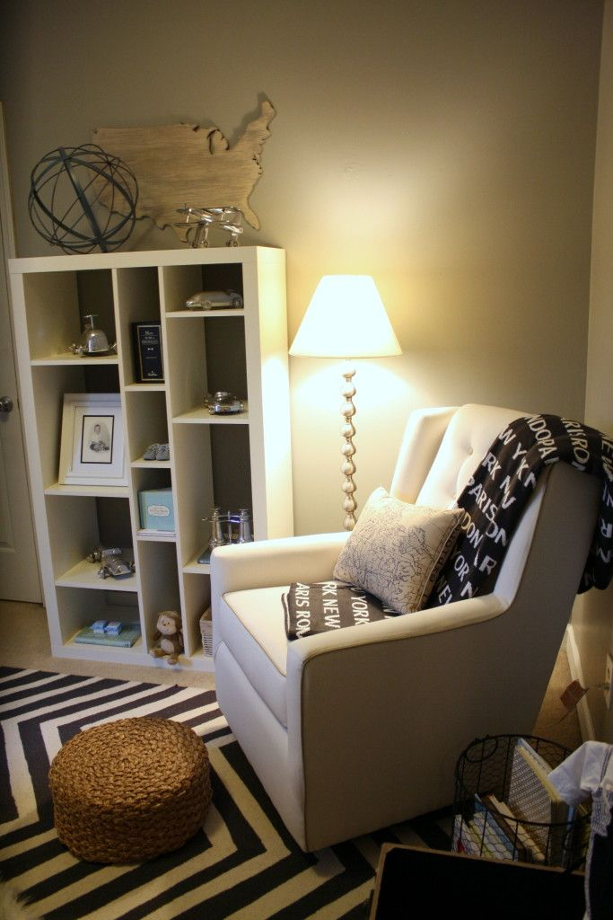 Cozy Nursing + Reading Corner in this Travel-Themed Nursery: Bookshelves, Baby Blessed, Nurseries Shelves, Chairs, Breastfe Rooms, Floors Lamps, Breastfeeding Rooms, Neutral Nurseries, Nurseries Nooks