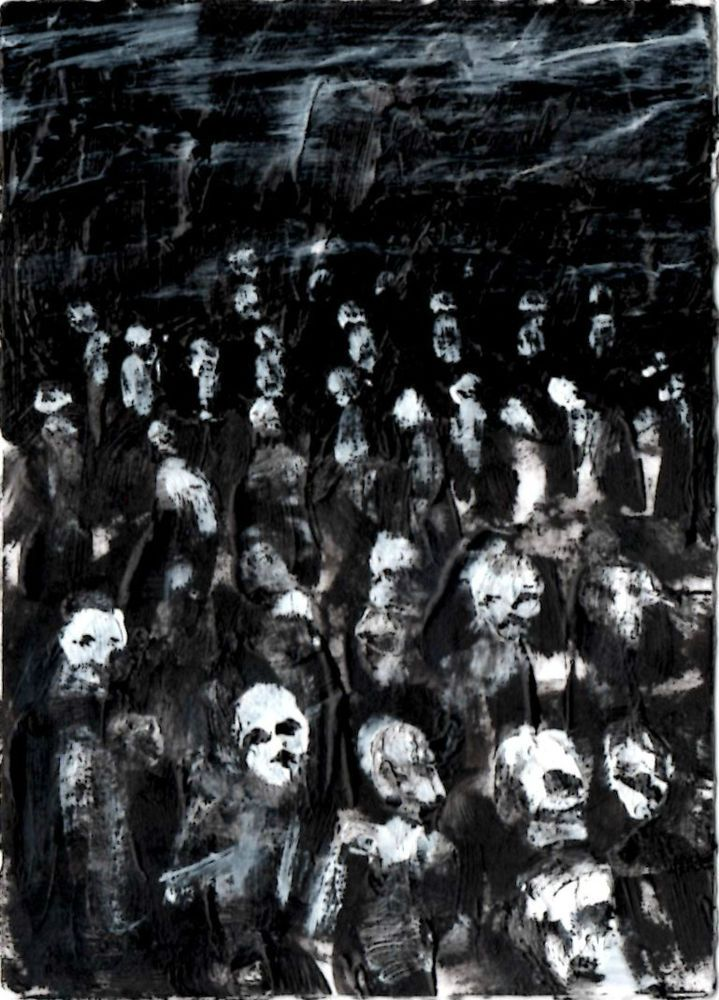 """Zombie Art, black and white,  original   ,ACEO  jack larson 3.5""""x2.5"""" #Abstract"""