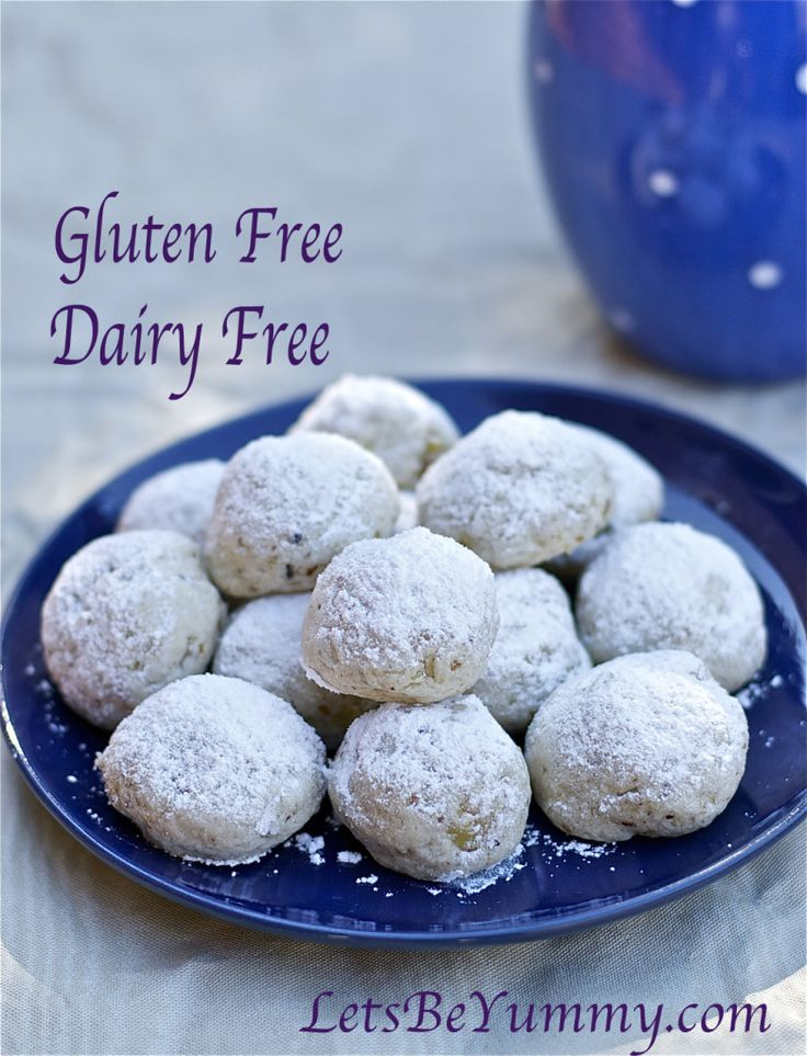 I love these little cookies wrapped in confectioners's sugar! Mexican Wedding Cookies Gluten Free Dairy Free /LetsBeYummy.com