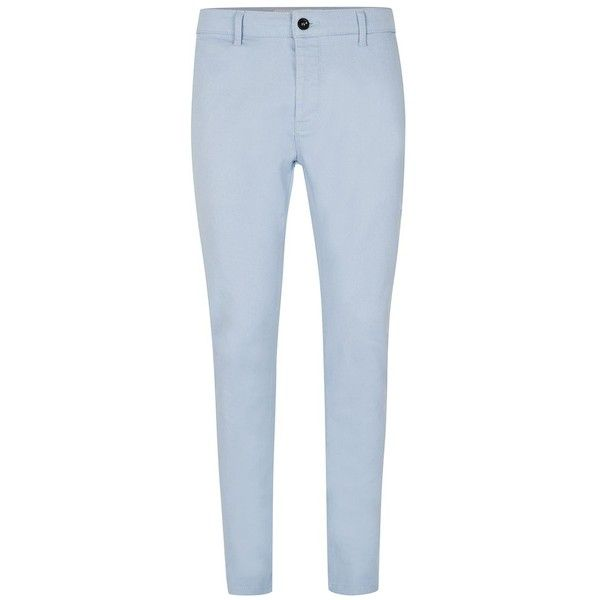 TOPMAN Light Blue Stretch Skinny Chino Trousers ($16) ❤ liked on Polyvore featuring men's fashion, men's clothing, men's pants, men's casual pants, blue, mens skinny chino pants, mens chinos pants, mens skinny pants, mens light blue pants and mens skinny fit dress pants