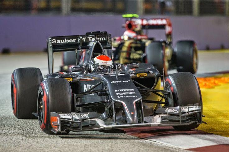 Adrian Sutil leads Pastor Maldonado.