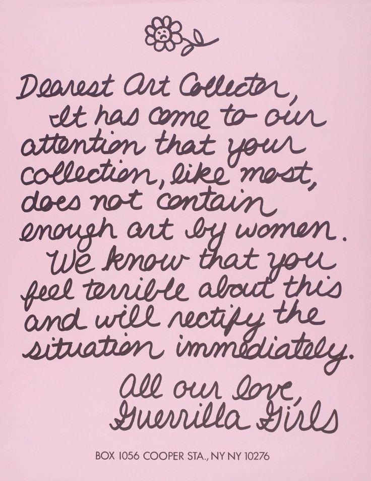 """The Guerrilla Girls, """"Dearest Art Collector"""", 1986, Poster, 56 x 43 cm"""