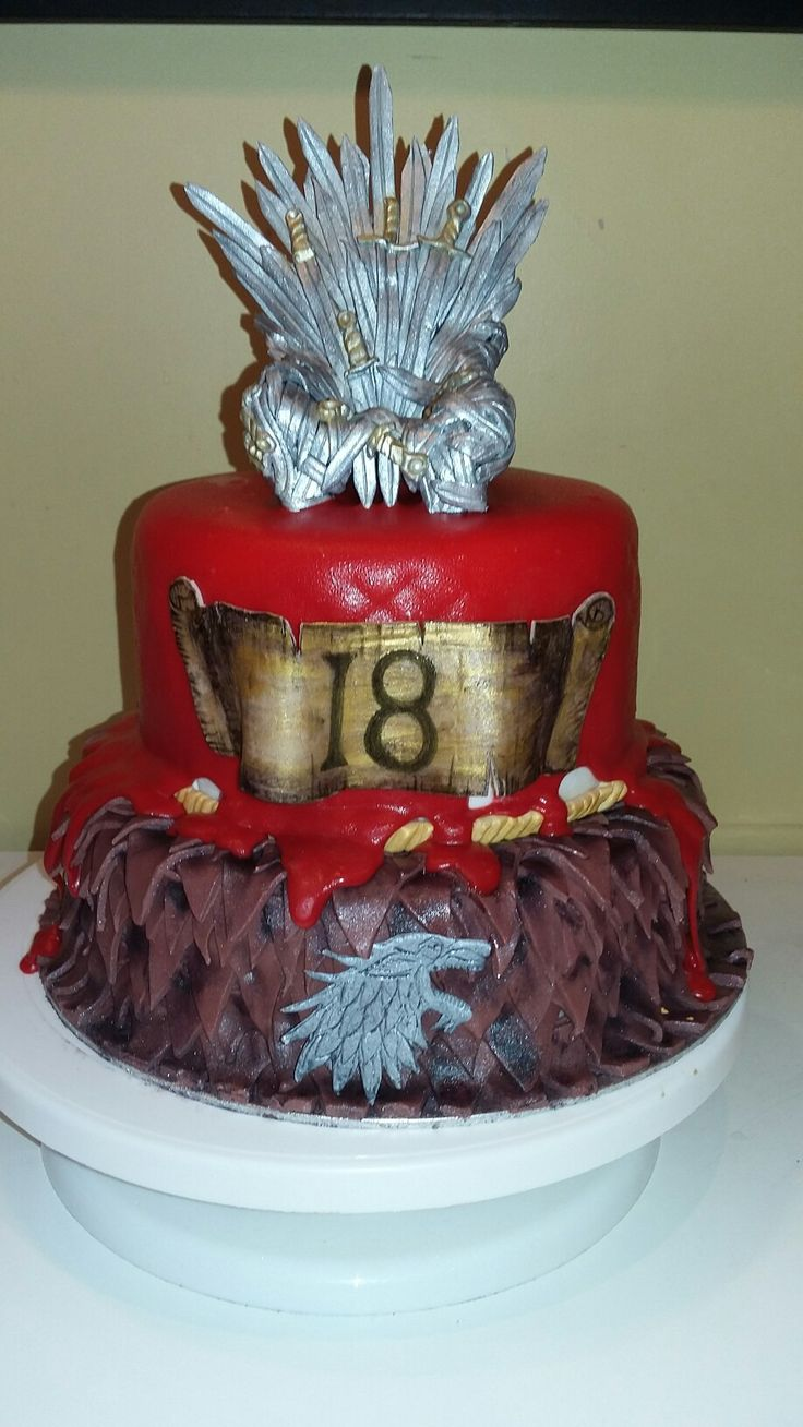 Game of thrones cake, red genache, dragon scale, fondant throne, 100%edible decorations by Danielle Smith ( Rockylicious Cakes )