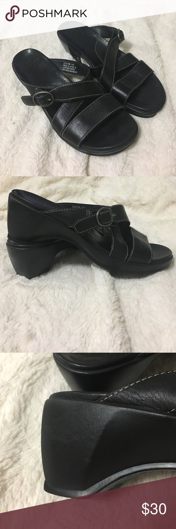 New Clarks Sandals Great condition. No box. Minor scuff on heel of right shoe, see picture. Low heel. Leather Clarks Shoes Sandals