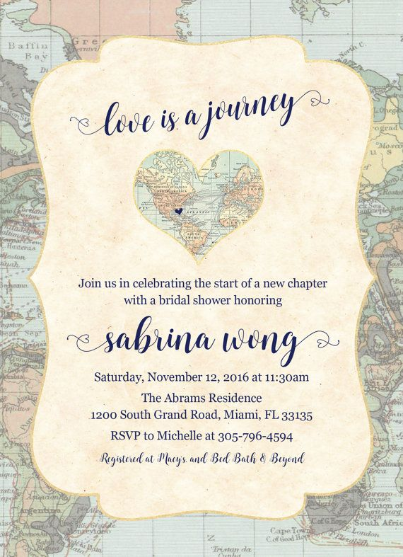 Map Travel Bridal Shower Invitation Love is a by CasaConfetti