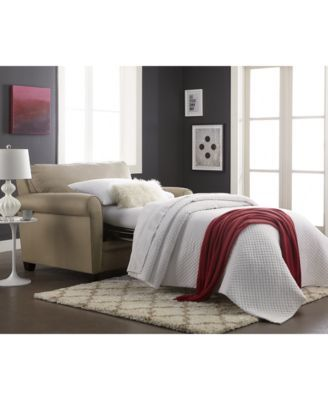 Kaleigh Fabric Twin Sleeper Chair Bed $599.00 The perfect host. From low-key hangouts to entertaining overnight guests, this compact casual addition brings new versatility & easy warmth into your living space. The contemporary chair flaunts rolled arms & accent piping & also opens to reveal an ultra-comfy & convenient innerspring mattress.