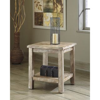 signature design by ashley vennilux bisque chair side end table table brown