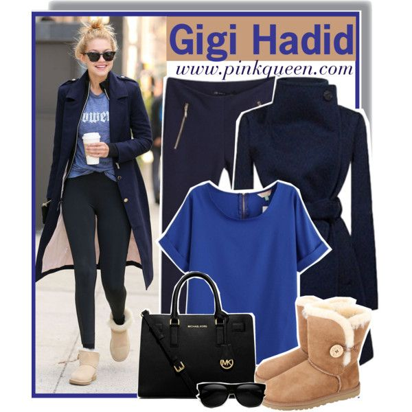 Gigi Hadid out in New York on March 20th by anne-mclayne on Polyvore featuring UGG Australia, Michael Kors, GetTheLook, StreetStyle, CelebrityStyle, gigihadid and PinkQueen