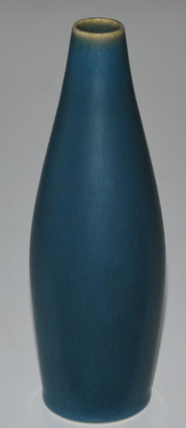 Palshus, Denmark. White stoneware with blue harefur glaze.