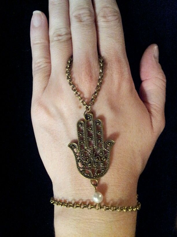 Bronze Hamsa & Pearl Slave Bracelet - $12 (Link available soon)