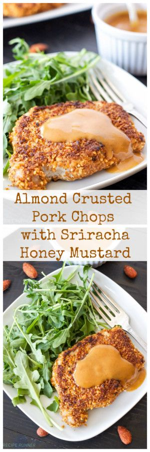 SRIRACHA ALMOND CRUSTED PORK CHOPS WITH SPICY HONEY MUSTARD SAUCE