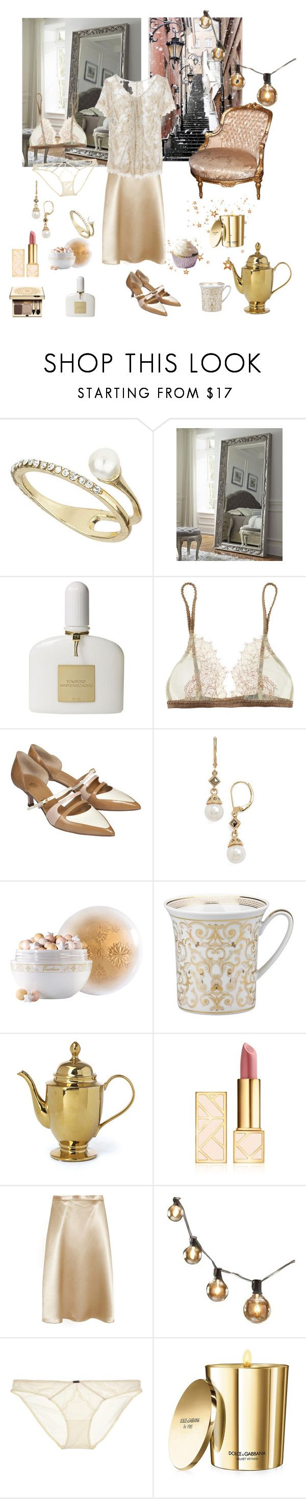 """""""Waiting for Santa"""" by nathalie-puex ❤ liked on Polyvore featuring Topshop, Tom Ford, La Fée Verte, De Siena, Clarins, Judith Jack, Guerlain, Versace, Tory Burch and Christopher Kane"""