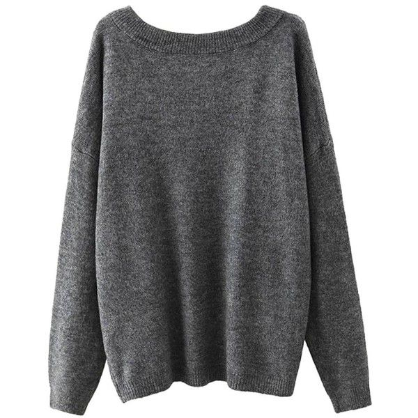 Yoins Yoins Grey Scoop Collar Dropped Shoulder Jumper found on Polyvore featuring tops, sweaters, shirts, grey, sweaters & cardigans, relax shirt, grey collared shirt, jumpers sweaters, grey jumper and collared shirt