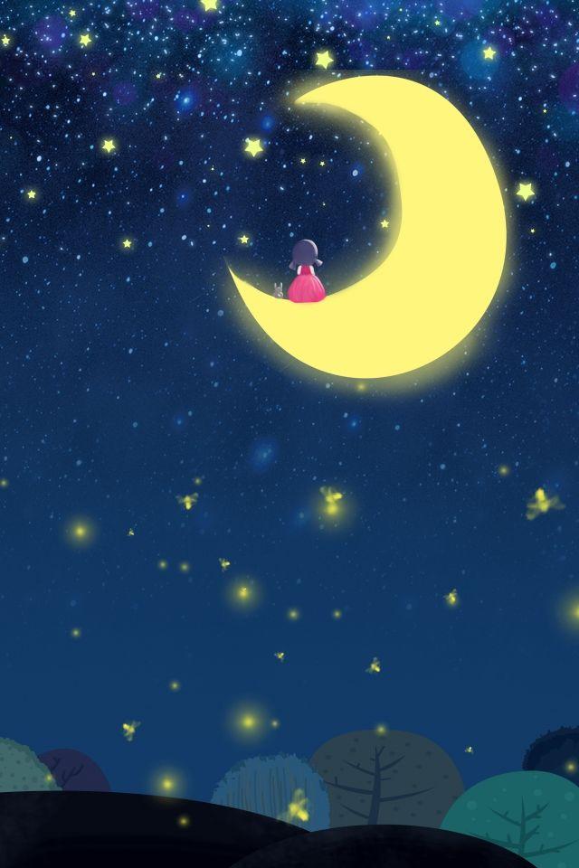 Noches De Verano Sueno Dibujos Animados Verano Nina Ilustracion De Noche Cartoon Cartoon Mini Arte En Lienzo