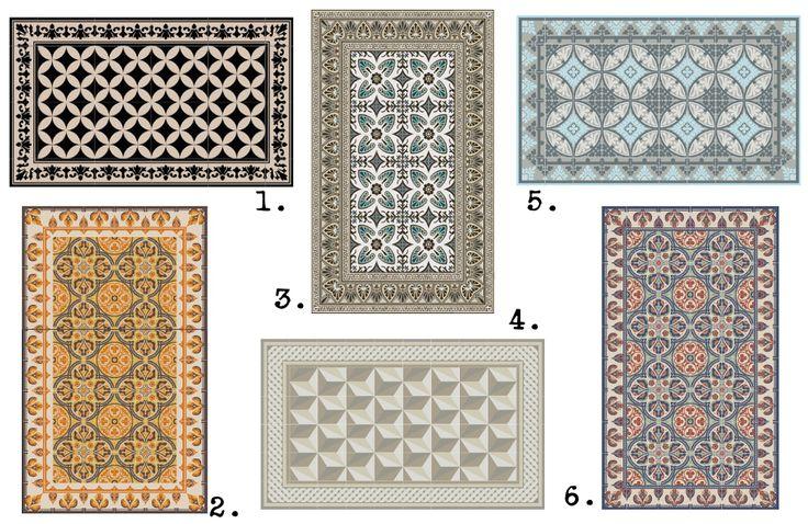 sélection tapis vinyl imitation carreaux de ciment deco.fr (fleux)