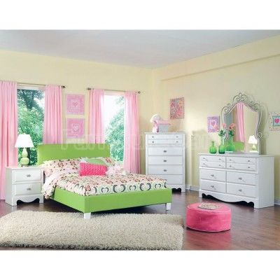 spring rose bedroom set w green bed