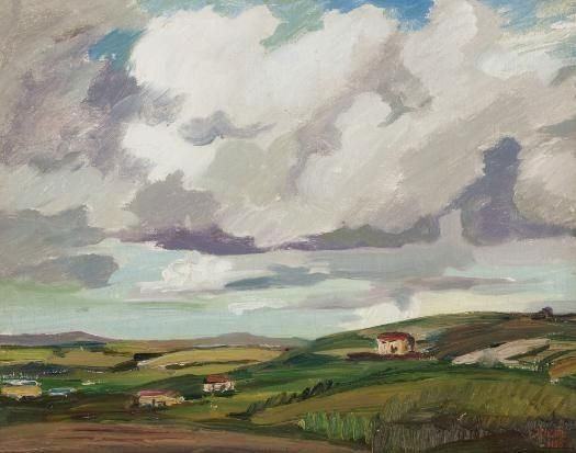 Landscape with Grey Clouds, 1935 - Gregoire Boonzaier - WikiArt.org - encyclopedia of visual arts