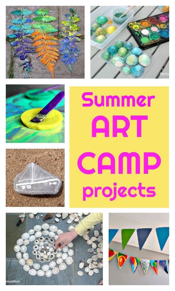 Summer art camp ideas, art camp projects, summer arts and crafts, art camp theme weeks