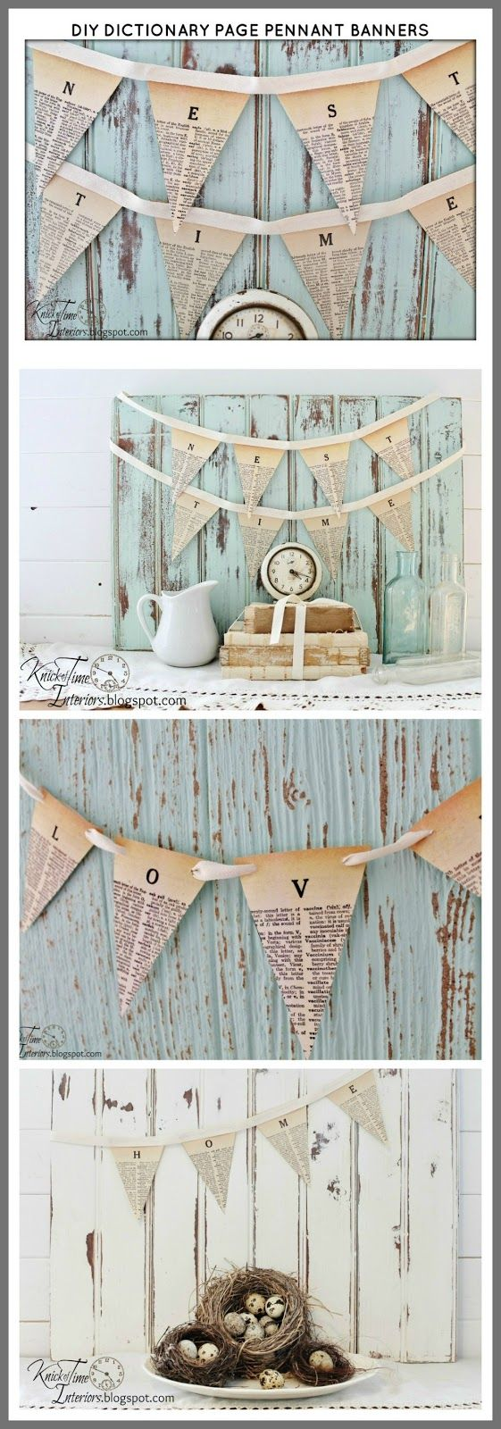 FREE Printable Dictionary Page Pennant Banners Tutorial & Printables @ knickoftime.net