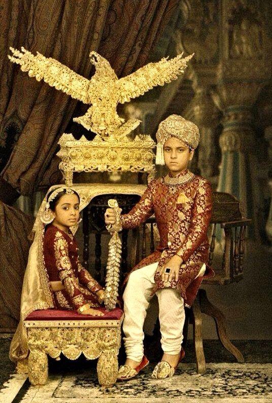 Children wearing old Mughal attire & Jewelry