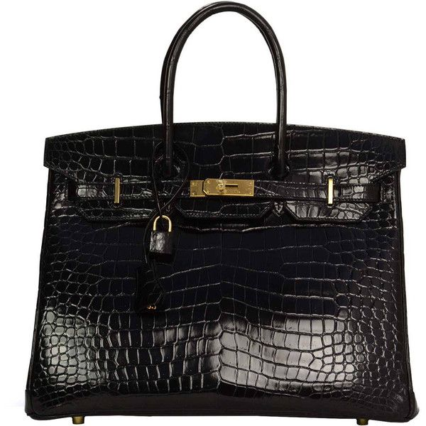 Hermes New 2014 Black Porosus Crocodile 35cm Birkin Bag Ghw ($89,000) ❤ liked on Polyvore featuring bags, handbags, birkin, handbags and purses, hermes birkin bags, top handle bags, handbags purses, crocodile handbags, leather man bags and hermes purse