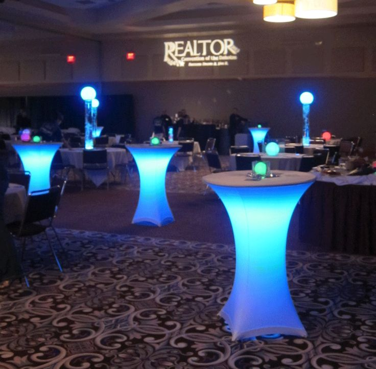 LED lighted tables with LED centerpieces