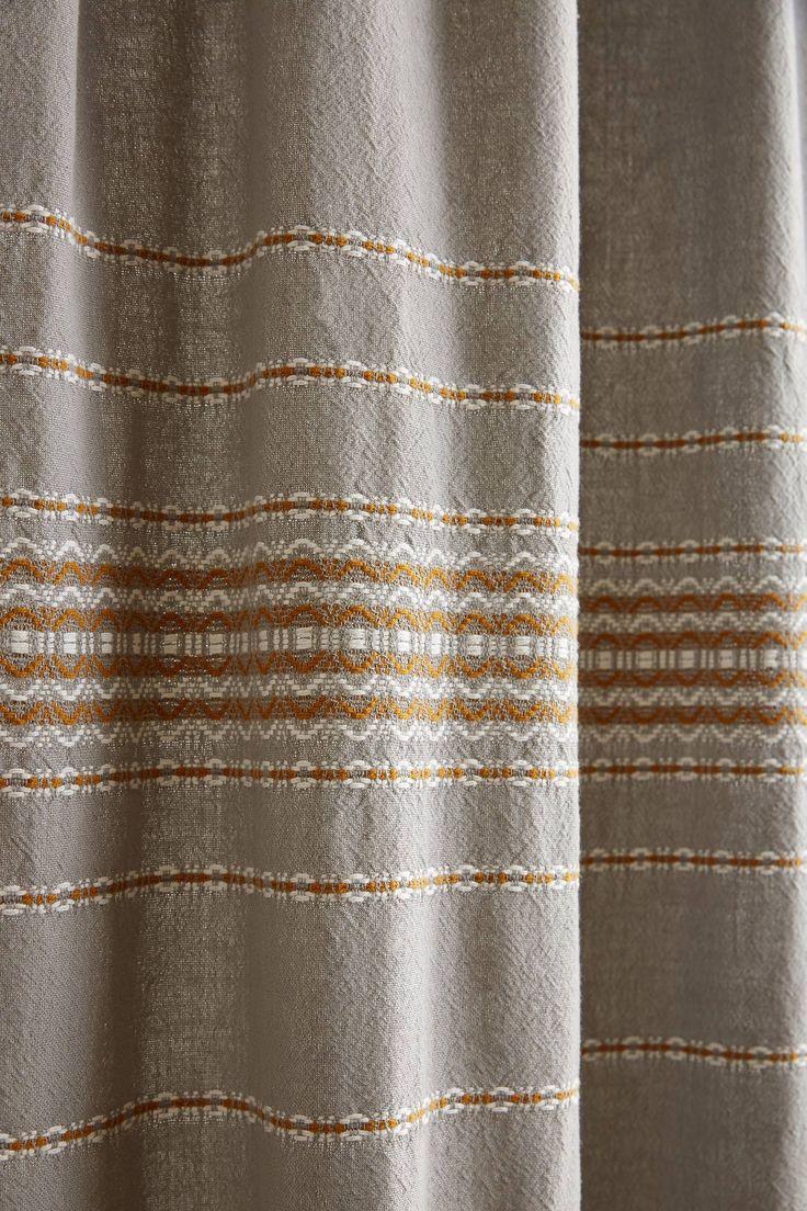 Yellow stripe shower curtain - Coyuchi Scallop Striped Shower Curtain
