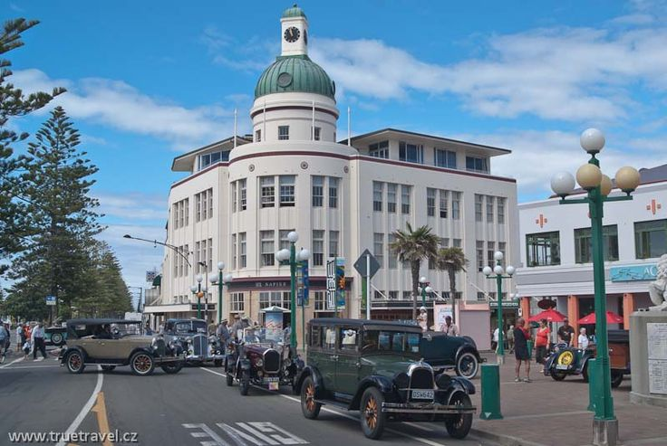 Napier, New Zealand.  Step back in time in this amazing city filled with the most wonderful Art Deco Buildings and history you will ever see.   If you're lucky enough to be there in February for the Art Deco Festival, you're in for a spectacular treat.