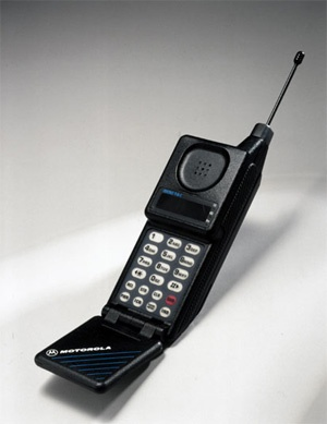 The Motorola MicroTAC was a mobile phone first manufactured as an analog phone in 1989. The MicroTAC introduced an innovative new flip design, where the mouthpiece folded over the keypad. The model sold for between US$2,495 and US $3,495.