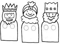 Manualidades con mis hijas: Los reyes Magos. Dedoches para colorear