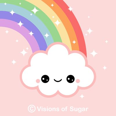 Image Detail for - Kawaii Cloud with Sparkle Rainbow