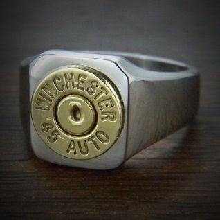 Bullet Jewelry by JECTZ® - Men's Octagon Stainless Steel Bullet Ring, $49.95 (http://www.jectz.com/mens-octagon-stainless-steel-bullet-ring/)