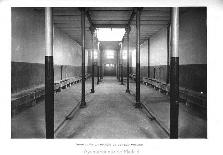 Matadero Legazpi - interior de un establo de ganado vacuno, antes de la inauguración