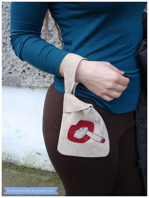how to decorate bag - red lips tattoo (pattern) jak przerobić i ozdobić torebkę ala tatuaż  diy (szablon)