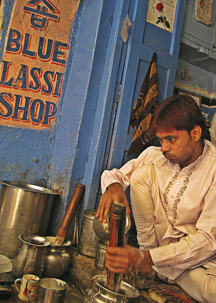 The Lassi Maker at Blue Lassi Shop! #India #Varanasi #BestEver