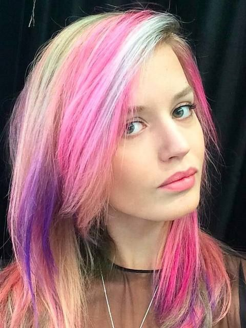 Georgia May Jagger was the latest celebrity to join the rainbow hair club, courtesy of BLEACHLondon, August 2015.