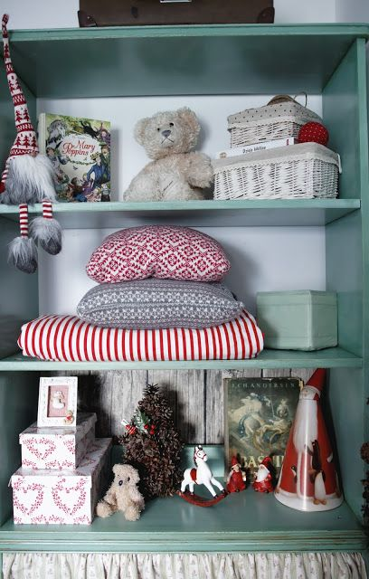 Minty christmas shelves in kids room!