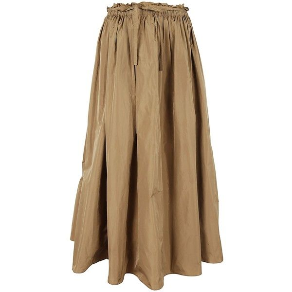 Classic Skirt ($315) ❤ liked on Polyvore featuring skirts, brown, long maxi skirts, long flared skirt, tie skirt, long brown maxi skirt and flared skirt