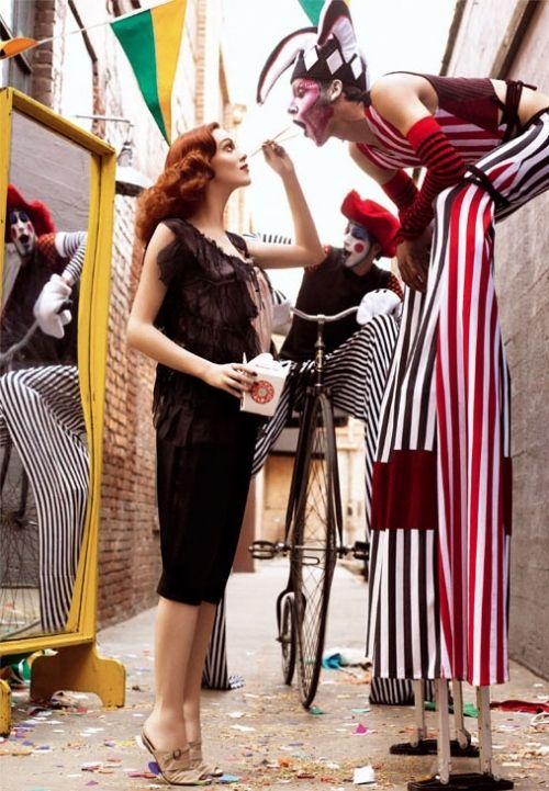 circus, fashion, karen elson, model, red hair, redheads