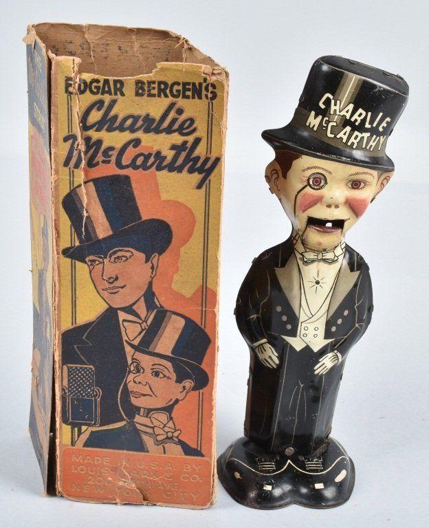 "1938 MARX CHARLIE McCARTHY MOVES UP DOWN Windup TIN LITHO 8 1/2"" STRUT w/ BOX"