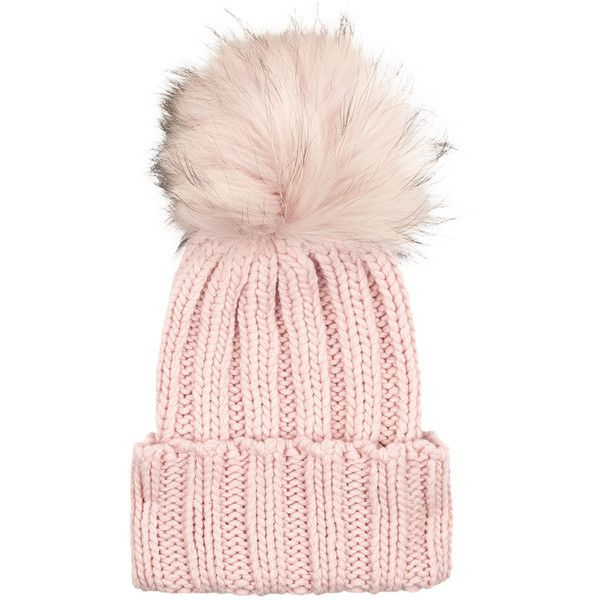 Inverni Pink Cashmere Fur Bobble Hat (£195) ❤ liked on Polyvore featuring accessories, hats, ski hat, pink hat, fur hat, bobble beanie and fur bobble hat