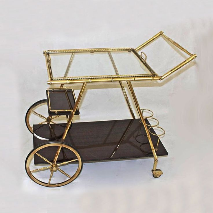 Italian Three Tier Faux Bamboo Cart in Brass 1950s