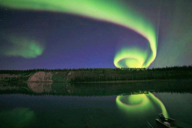 '<3' Incredible shot of spiral Aurora borealis by David Cartier Reykjavík , Iceland / 20th January 2013