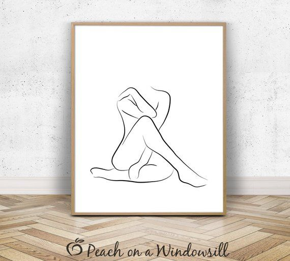 Nude Abstract Art | Female Figure Sketch | Modern Naked Woman Drawing | Body Outline Print | 8×10 Black White Minimalist Line Art Printable – Annika Kiel