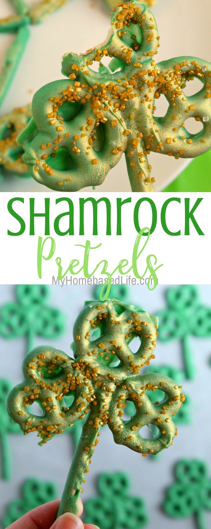 Shamrock Pretzel Treats. Pretzel rod an pretzel twists dipped in green tinted white chocolate (or candy melts) .. and formed into a shamrock. Sprinkled with edible gold decorating sugar. A simple and fun snack for St. Patrick's Day!!