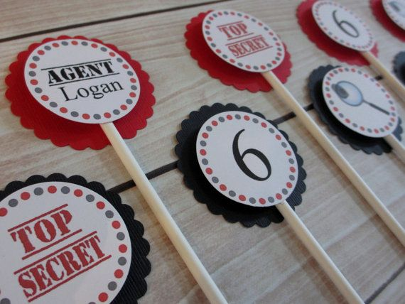 Welcome to Tea Party Designs! Set of eight handmade secret agent cupcake toppers that are customized just for you! (If you would like to