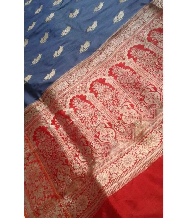 Blue Pure Handloom Banarasi Katan Silk Saree------- Banarasi silk is an unmatched example of excellent artistry. Mughals brought this fine craftsmanship in India. Mughals also tried their best to glorify the art of weaving and designing. During the course of that act, they inspired few craftsmen to work in intricate art of weaving. http://luxurionworld.com/banarasi-Sarees-varanasi-pure-silk/LWBSS522_Blue_Pure_Handloom_Banarasi_katan_Silk_Saree.htm