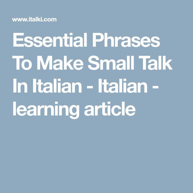 English In Italian: Best 25+ Small Talk Ideas On Pinterest