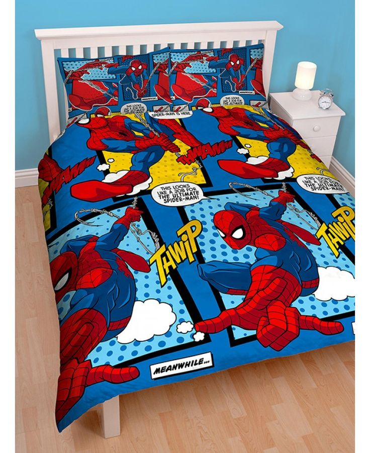 Marvel fans will love this awesome official Spiderman bedding set! The bold design comic book style theme complete with caption speech bubbles and comes in shades of blue and yellow. The reverse features a similar design in a smaller repeated pattern.