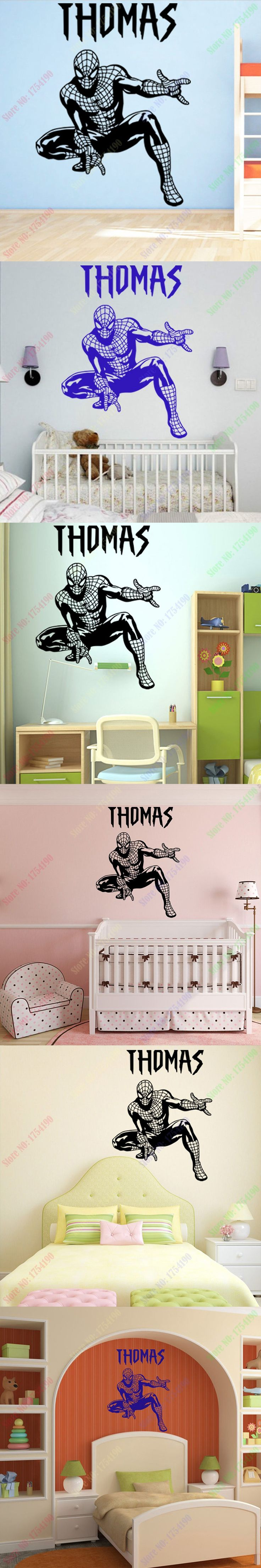 2016 New Personality NAME Cool Spider-Man Wall sticker for Bedroom and living room Children KIDS ROOM Home Decor 60x45cm $12.99